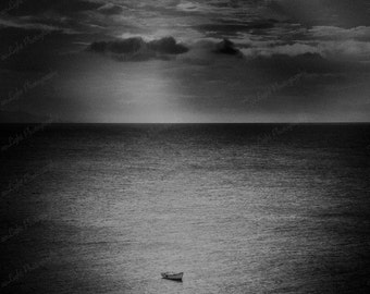 Seascape with Boat, black and white seascape with small fishing boat, 8 x 10
