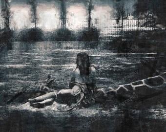 Black and white surreal fantasy, 8 x 12 fine art