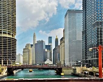 Chicago river, cityscape, chicago, urban 8 x 10 print