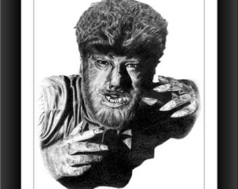 The Wolfman 8 x 10 signed and numbered print - Original Graphite Portrait