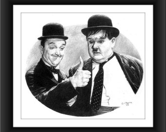 Laurel and Hardy 8 x 10 signed and numbered print - Original Graphite Portrait