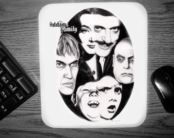 Addams Family Mouse Pad - Original Graphite Portrait