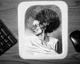 The Bride of Frankenstein Mouse pad - Original Graphite Portrait