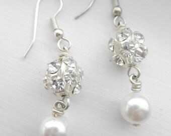 Pearl and Rhinestone Luster Earrings