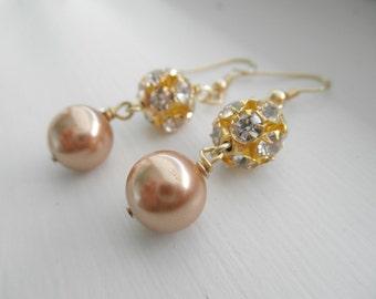 Pearl and Rhinestone Luster Earrings in Gold