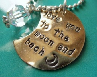 Love You to the Moon and Back handstamped neckace