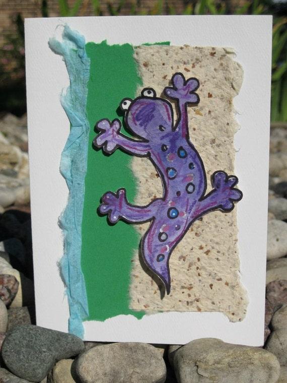 Brenda Lizard Handmade Collage Art Greeting Card