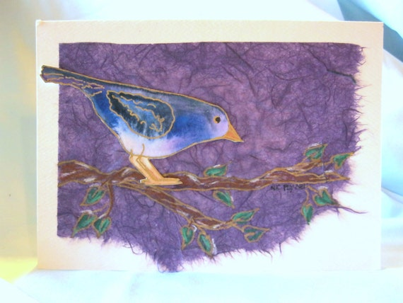 Bird Branch Greeting Card Original Handmade Collage