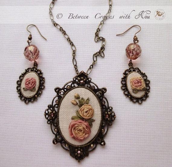 Peach roses ribbon embroidered necklace with earrings, set, ribbon work, handmade, hand embroidered. Under 45 USD