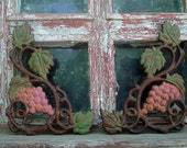 Primitive Handpainted and Rusted Cast Iron Grape Accents