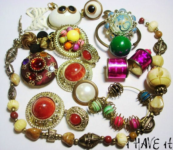 Vintage Retro Lot of FUNKY Destash Jewelry Recycled and Ready to Create I HAVE IT