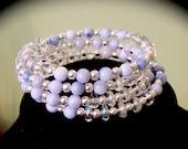 Blue shell memory wire bracelet