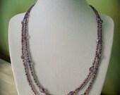 Purple multi strand necklace and memory wire bracelet