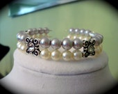 Grey and Ivory Pearl Memory Cuff