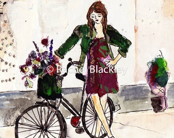 Collaged Girl on Bike with Flowers