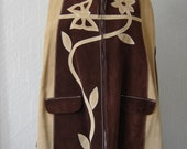 Vintage 1970s suede poncho with butterfly and flower design
