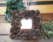 Pinecone Woodland  Square Accent Mirror