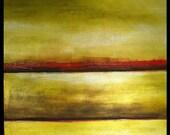 "JTRINH Original Painting 30"" x 30 Landcape Abstract Art Contemporary Green Red"