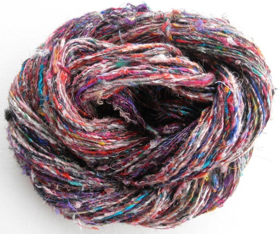 "Handspun Art Yarn ""Mardi Gras"" Single Ply Recycled Sari Silk"