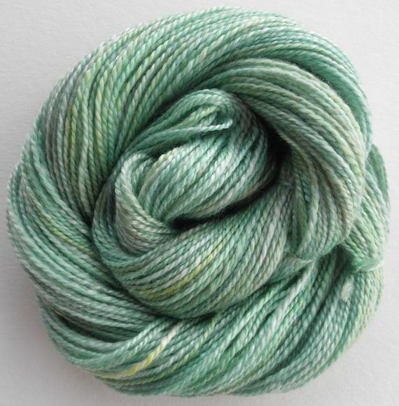"Handspun Yarn ""Cool Mint"" Two Ply Merino/Tencel"