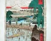 Japanese antique print - Aged Finish - Series 36 Views of Mount Fuji (1-Ichikobu Bridge)