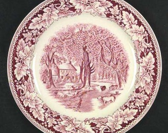 """Homer Laughlin Currier & Ives- """"Home Sweet Home"""" Coupe Soup Bowl"""
