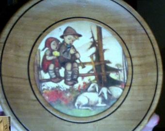 Vintage Wooden Hummel Plate M.J. Hummel