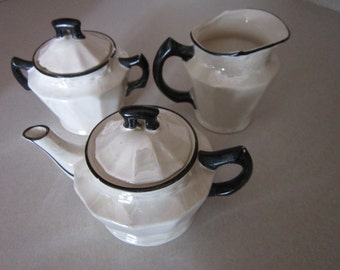 Vintage Mother of Pearl Lusterware Tea Set Individual Tea Pot Sugar bowl and creamer.