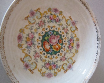 "Sebring Melody Bowl Ivory Porcelain Sebring Pottery -1925  ""Melody"" bowl 22K Gold 7 1/8 inch"