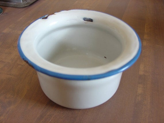 Enamelware Potty White and Blue Child's