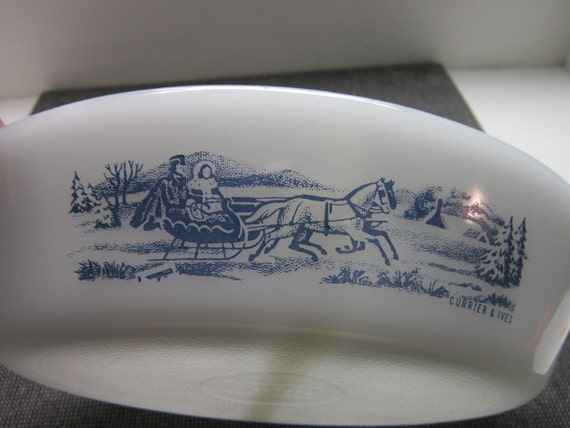 Reserved for Pam Vintage Glasbake Divided Casserole Serving Dish White Milk Glass Blue Sleigh Currier and Ives