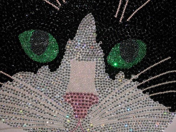 Swarovski Crystal Tuxedo Cat Art