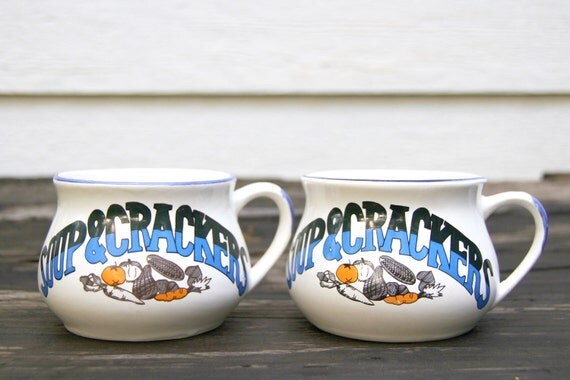 Vintage Soup and Crackers Mugs