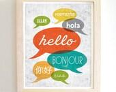 Hello Hello - Art Print - 8x10 - Modern - Home Decor - Under 25