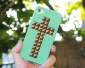 FREE Shipping US -- Mint Green Brass Cross Studded iPhone 4 4S Phone Case AT&T Verizon Sprint