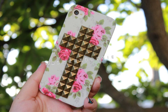 Vintage Flower Rose Brass Cross Gold Pyramid Studded iPhone 4 4S Phone Case AT&T Verizon Sprint