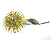 Mid Century Jewelry Yellow Flower Brooch Pin Accessory
