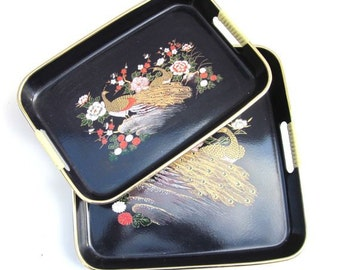 Asian Lacquered Trays Peacock Asian Inspired Set Mid Century Serving