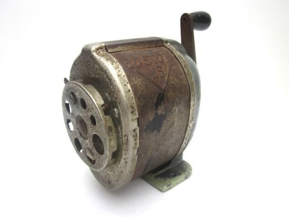 Schoolhouse Art Deco Boston Pencil Sharpener Rusty Metal