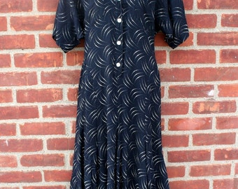 Black and White Pattern Dress 1980 Fashion