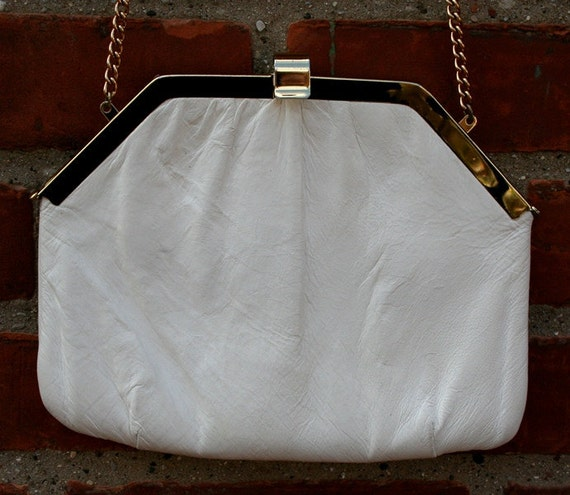 White Leather Purse Clutch Vintage Chain Gold Satin Lining Dark Blue