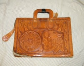 SALvage This - Embossed / Tooled Leather Folio - Briefcase / Native - Mexican theme