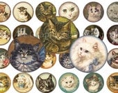 Vintage Cats & Kittens 1 Inch Circles Digital Collage sheet no. 100 for Pendants and More