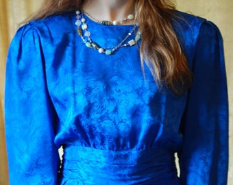 Vintage 80s Dress ... size small...  Nordstroms petite, Blue Silk, cocktail dress, evening dress, prom dress