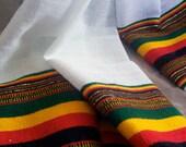 Reggae Fashion Handwoven Rastafari Shawl with Rasta Colors