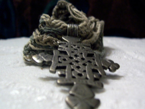 Hemp Macrame With Antique Ethiopian Coptic Rasta Cross and Ethiopian Beads