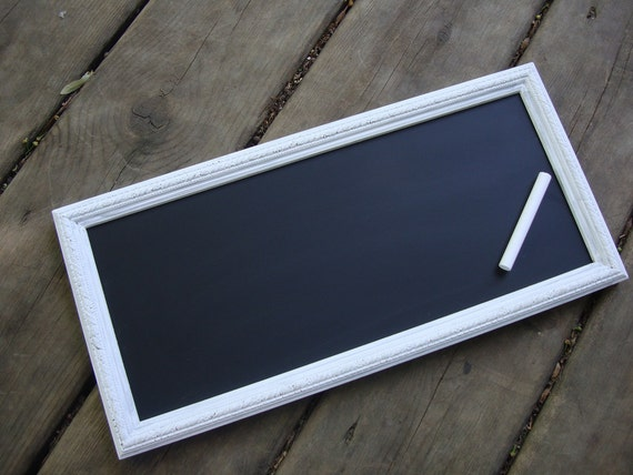 Upcycled white chalkboard frame - photo prop - u pick paint color clear stand included