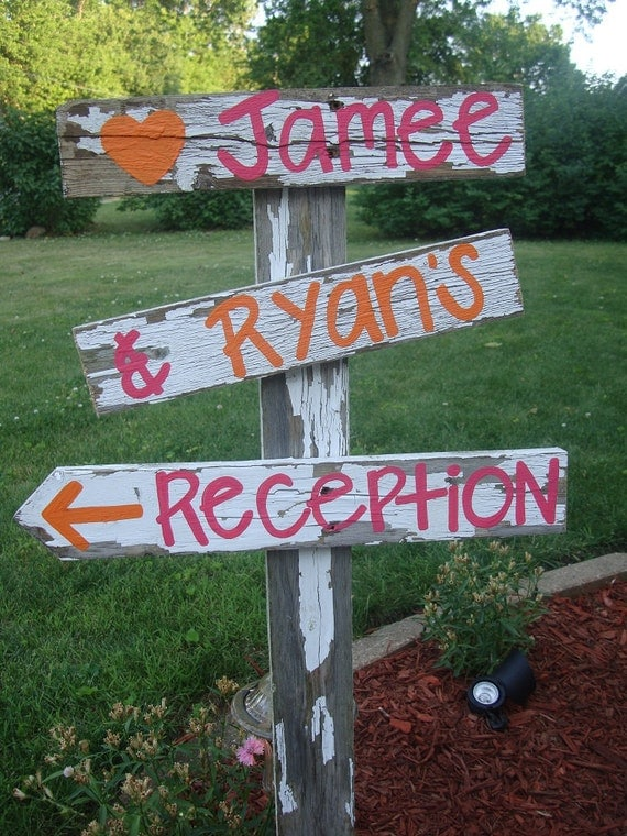 Wedding Reception sign- rustic / shabby chic wedding decor - u pick colors