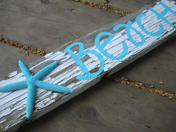 Beach sign - Tiffany blue and white distressed