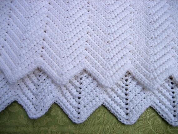 Crochet Baby Blanket White - Ripple Patterned - Infant Blanket Afghan